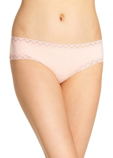Natori bliss cotton girl briefs in creamsicle - Geometric lace is soft and light, adding a delicate edge...