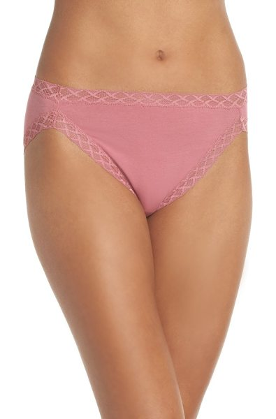 Natori bliss french cut briefs in rose tea - Delicate geometric lace edges French-cut briefs. Style...