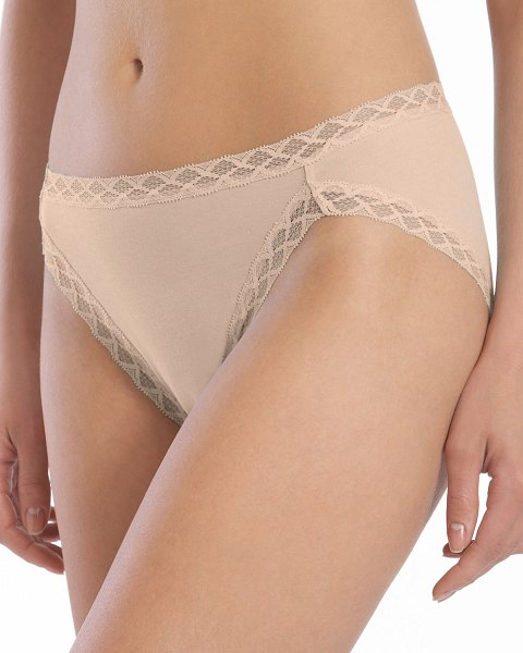 Natori Bliss French Cut Lace Trimmed Briefs in cafe