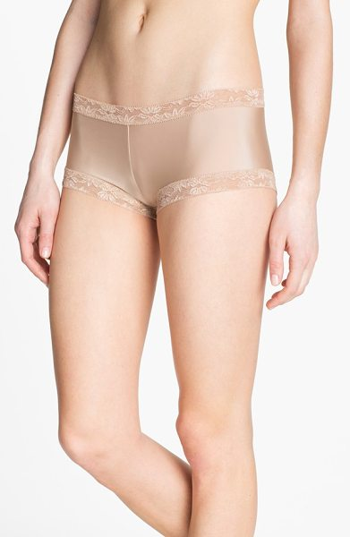 Natori bliss girl shorts in cafe - Floral lace spins a romantic finish on low-rise girl...