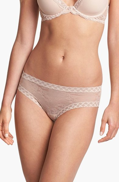 Natori 'bliss' lace bikini in cafe - Sheer panties cut from soft, stretchy floral lace are...