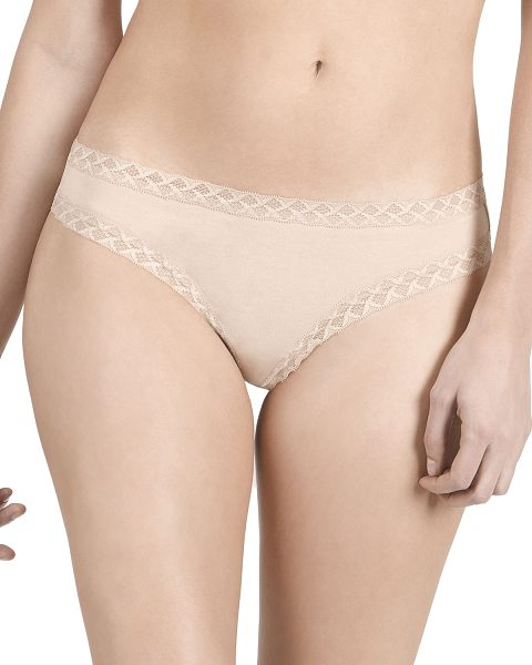 "Natori Bliss Lace-Trim Cheeky Thong in beige - Natori ""Bliss"" cheeky thong in super-soft jersey with..."