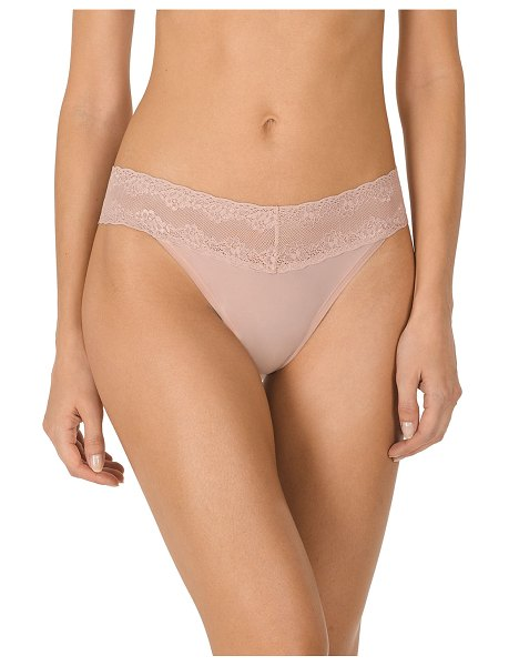 Natori Bliss Perfection Lace-Trimmed Thong (One Size) in rose beige