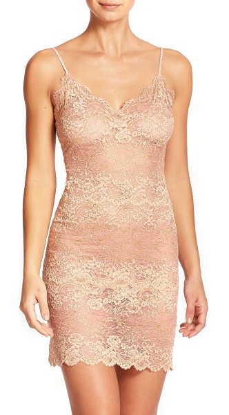 Natori Boudoir lace chemise in blush - A sensuously sheer chemise featuring floral lace with...
