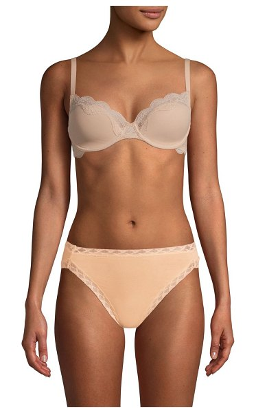 Natori elusive lace-trimmed bra in cafe