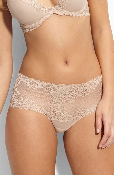 Natori feathers briefs in cafe - An intricately embroidered feather pattern romances...