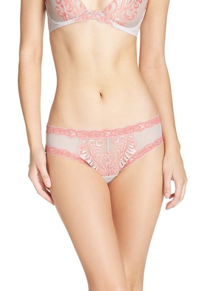 Natori feathers hipster briefs in oyster/ apricot - An intricately embroidered feather pattern romances...