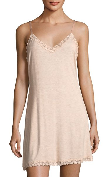 "Natori Feathers Lace-Trim Chemise in light pink - Natori ""Feathers"" chemise with lace trim. Approx. 37""L..."