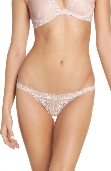 Natori feathers thong in shell shine - An intricately embroidered feather pattern romances a...