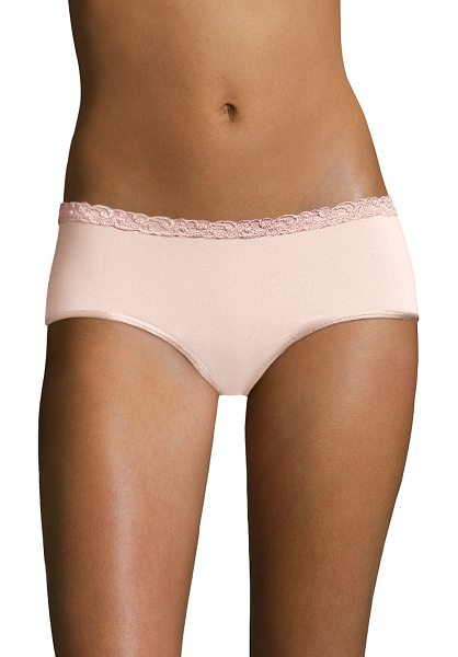 Natori Foundations bliss pure girl shorts in khaki - Scalloped lace and satin trim add an undeniably feminine...