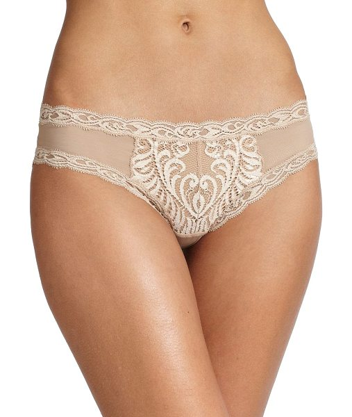 Natori Foundations feathers hipster panty in cafe - Sultry lace trimmings and an intricate design on...