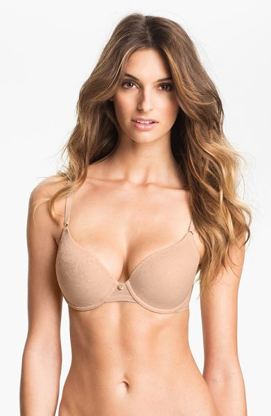 Natori jacquard underwire bra in cafe - A faint, no-show jacquard pattern is etched onto the...