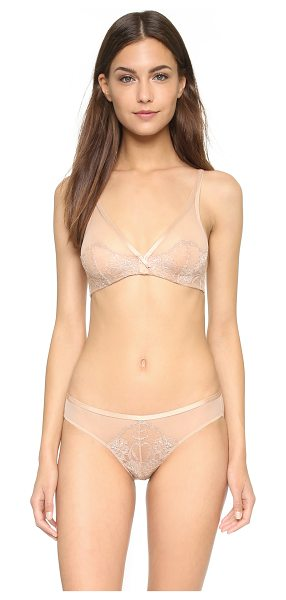 Natori Josie  couture chantilly lace plunge bra in dark nude - Sheer lace and mesh compose the cups of this underwire...