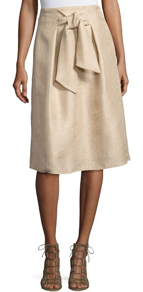 Josie Natori Tie-Front A-Line Skirt in light brown - Natori textured tie-front circle skirt. Sits at the...