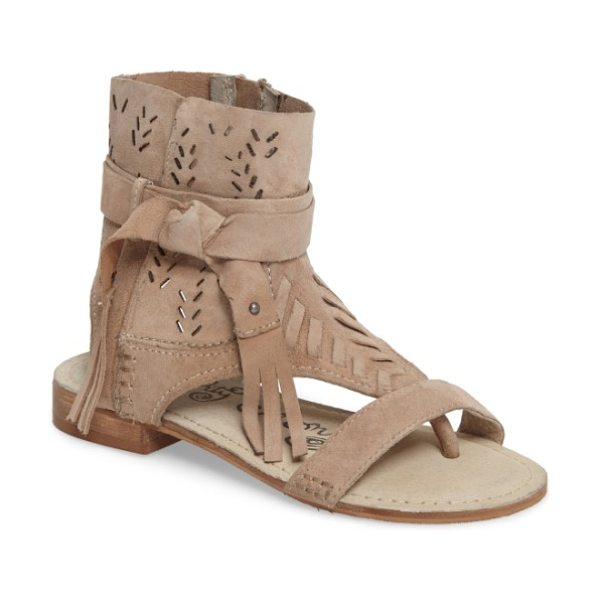 Naughty Monkey cochise flat sandal in cream leather