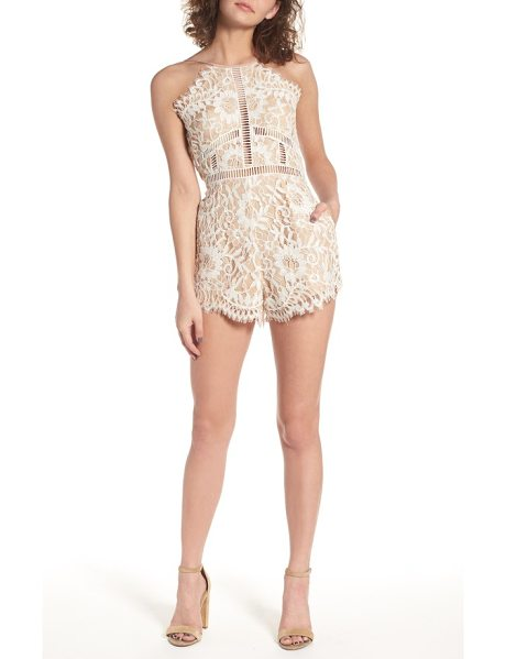 NBD alijah lace romper in cream - Cut up the dance floor in this floral eyelash lace...
