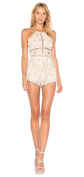"NBD Alijah Romper in cream - ""All lace, all night long. The Alijah Romber by NBD is..."