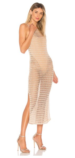 NBD Ashanti Dress in tan - 95% rayon 5% poly 1% metallic. Unlined. Semi-sheer knit...