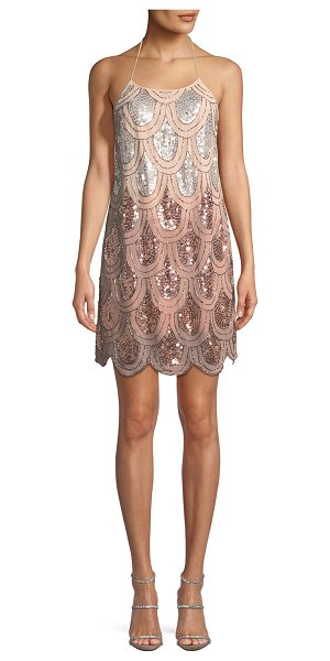 "NBD Dame Ombré Beaded Halter Cocktail Dress - NBD ""Dame"" ombr beaded halter dress. Self-tie halter..."