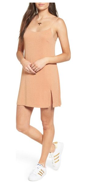 NBD jaxon minidress in carmel/ gold - Split at the hem and softly luminous, this streamlined...