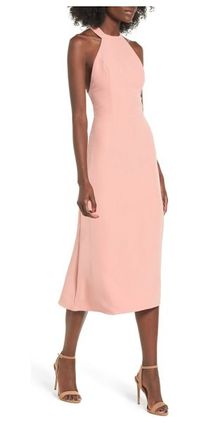 NBD leo midi dress in salmon - With a sweet halter neckline and a plunging back, this...