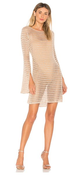 NBD Lucy Dress in nude - 95% rayon 5% poly 1% metallic. Unlined. Semi-sheer knit...