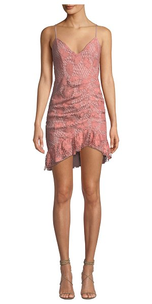 "NBD Plumeria Floral Lace Dress w/ Shirring in pink/black - NBD ""Plumeria"" dress in floral lace. V neckline; square..."