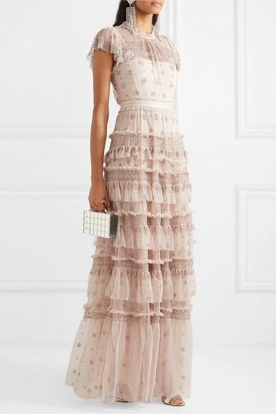 Needle & Thread andromeda embellished tulle gown in blush