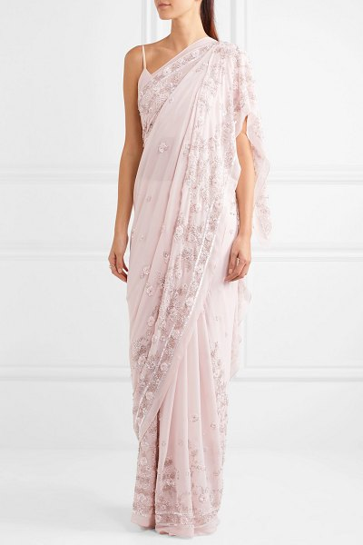 Needle & Thread astral embellished silk-chiffon saree in pastel pink - Needle & Thread's stunning 'Astral' saree is cut from...