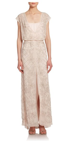 Needle & Thread Aura maxi dress in lightpink - Delicate, shimmering seed beads stretch to trace a...