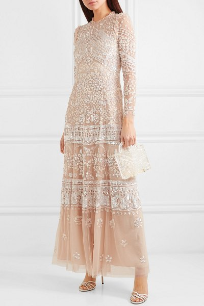 Needle & Thread aurora ruffled sequin-embellished tulle gown in beige