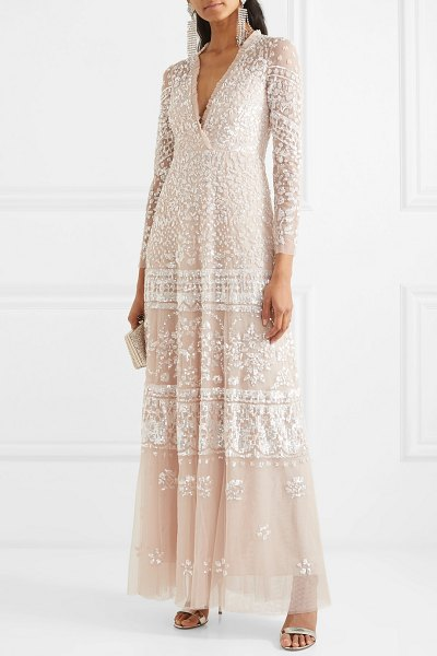 Needle & Thread aurora sequined tulle gown in blush