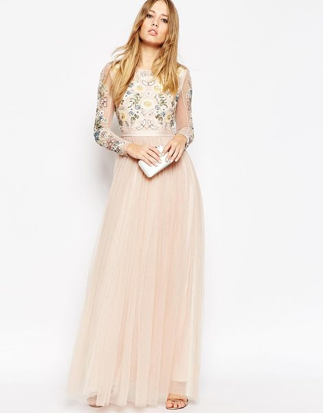 Needle & Thread backless sheer sleeve tulle embellished maxi dress in blush - Maxi dress by Needle Thread, Lined tulle, Round neck,...