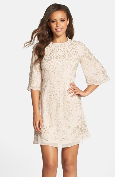 Needle & Thread beaded georgette bell sleeve shift dress in rose - Shimmering beadwork illuminates a beautiful floral...
