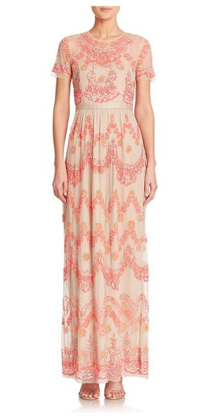 Needle & Thread Beaded-tier maxi dress in lightpink - A sheer overlay featuring tiers of intricate beading...