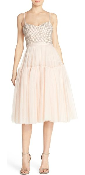 Needle & Thread beaded tulle fit & flare dress in ballet pink - Silvery beadwork in densely-sewn checks illuminates the...