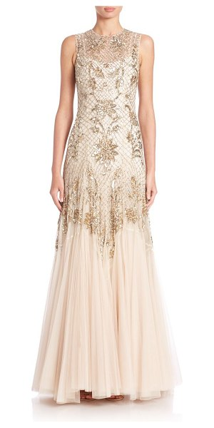 Needle & Thread Beaded tulle gown in gold-cream - A latticework of shimmering beads and sequins...