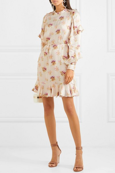 Needle & Thread bessie belted ruffled floral-print satin mini dress in cream