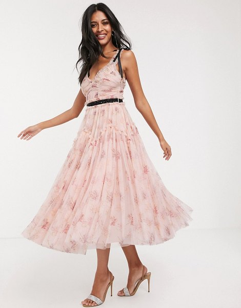 Needle & Thread bow detail midi dress with contrast waistband in pink floral in pink