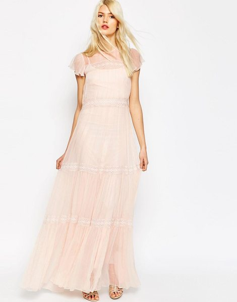 Needle & Thread Chiffon Lace Gown Maxi Dress in pink - Maxi dress by Needle Thread, Woven chiffon, Slip lining,...