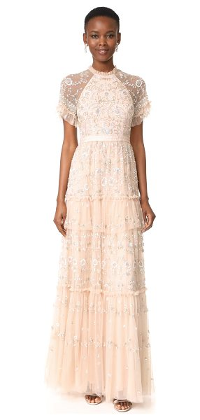 Needle & Thread constellation lace gown in petal pink - A sumptuous Needle & Thread gown with intricate beaded...