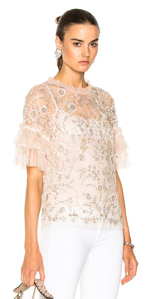 Needle & Thread Constellation Lace Top in petal pink - Self: 100% nylonLining: 100% poly. Made in India. Dry...