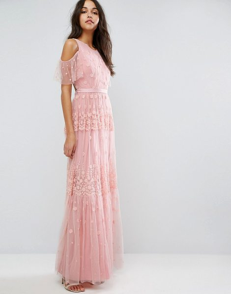 "NEEDLE & THREAD Daisy Embroidery Maxi Dress With Cold Shoulder - """"Maxi dress by Needle Thread, Mid-weight embroidered..."