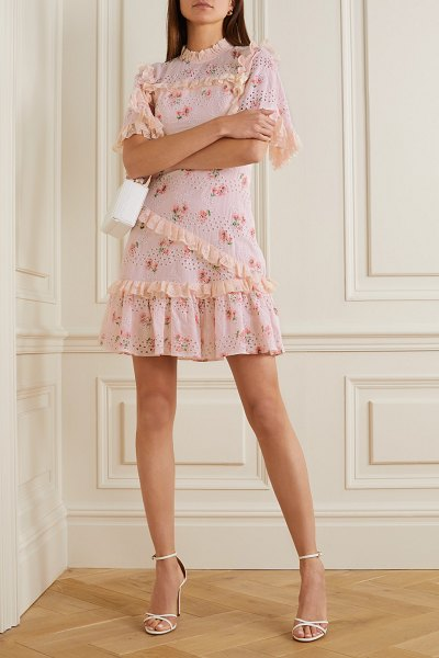 Needle & Thread desert rose ruffled floral-print broderie anglaise cotton-blend mini dress in baby pink