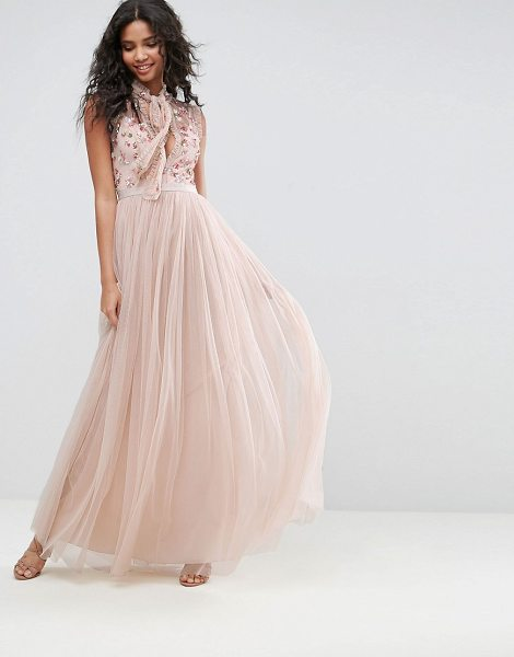 "Needle & Thread Ditsy Bodice Gown in pink - """"Midi dress by Needle Thread, Lined mesh tulle,..."