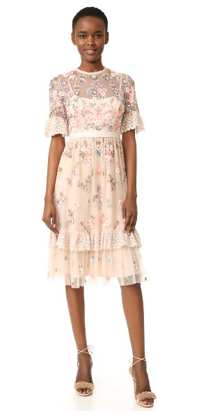 Needle & Thread ditsy scatter dress in petal pink - Metallic sequins and beads form an intricate floral...