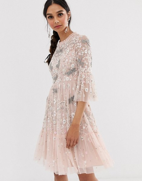 Needle & Thread dragonfly midi dress in rose pink in pink