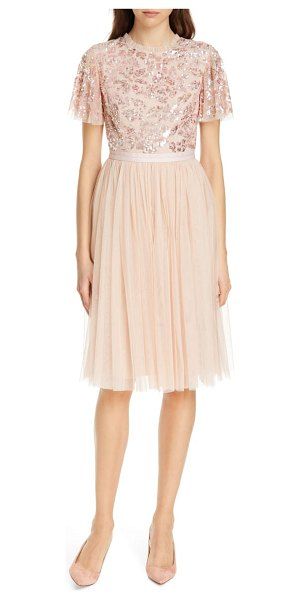 Needle & Thread dream rose a-line dress in pink