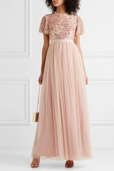 Needle & Thread dream rose open-back sequin-embellished tulle gown in baby pink