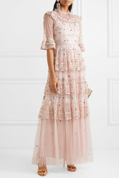 Needle & Thread eden tiered embellished tulle gown in blush